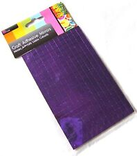 NEW 260 SELF ADHESIVE GLASS MIRROR SQUARES TILES MOSAIC CRAFT 7MM SIL PURPLE