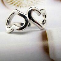 Carini color argento due cuori anello misura UK P