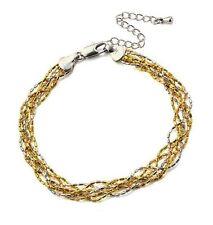 18K 18ct Gold filled Solid 3 tone twist woman man layer bracelet BL-A161