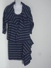 Tia Cibani Blue Striped Pencil Skirt Side Flounce Sz 2 NWT $695