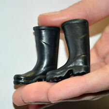 Miniature black rain rubber boots 1:12 dollhouse doll