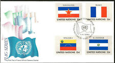 Flags of France Yugoslavia Venezuela Sal United Nations Official First Day Cover