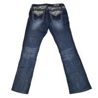GRACE IN LA Women's Easy Fit Jeans Size 31 x 30 Inseam Flap Pocket Thick Stitch