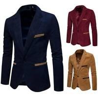 Men Casual Slim Fit Vintage Formal Suit Blazer Lapel Coat Jacket Business Suit
