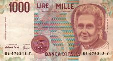 BANCONOTA ITALIANA DA 1000 LIRE MONTESSORI SERIE BE SC-7