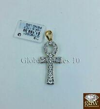 "10k Yellow Gold Ankh Cross 1.5"" Inch Charm/Pendant with Real Diamond, Jesus."