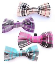Blue, Pink, Purple or Barkberry Tan Tartan Plaid Dog Bow Tie MEDIUM