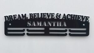 Thick 5mm Acrylic 3 Tier Personalised FOOTBALL Medal Hanger //Rack With Standoffs
