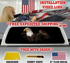 AMERICAN FLAG EAGLE PICK-UP TRUCK BACK WINDOW GRAPHIC DECAL PERFORATED VINYL ...