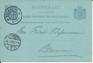 Netherlands 1897 postal stationery card large round ROERMOND to Germany