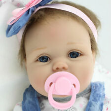 22''Full Silicone Vinyl Reborn Baby Doll Lifelike Handmade Newborn Girl +Clothes