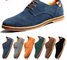 Men Business Formal Shoes Suede Casual Oxfords Leather Shoes Lace Up Flats Lofer