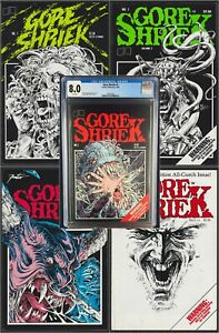 Gore Shriek Lot! #2 CGC 8.0 - Plus 4 Raw Books! Badass Vintage Horror Comics!!