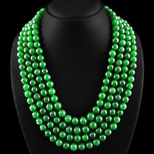 GENUINE 1240.00 CTS EARTH MINED 4 STRAND RICH GREEN EMERALD ROUND BEADS NECKLACE