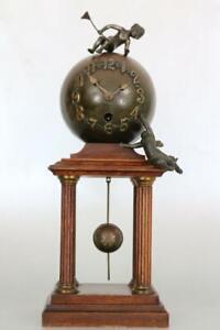 ANTIQUE GLOBE MANTEL CLOCK by JUNGHANS with CHERUBS service GERMAN PORTICO CLOCK