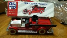 New Clark 1926 Seagrave Red Firetruck Die-Cast Metal/Locking Coin Bank with Box