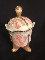 "Vintage Signed Summit Art Glass Chrysanthemum Custard Pink & Gold Sugar Bowl 7"""