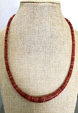 """Santo Domingo Graduated Apple Coral Sterling 4-10mm Heishi Necklace  19.75"""""""
