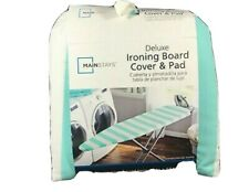 Mainstays Deluxe Ironing Board Cover and Pad Aqua Teal Chevron Cotton Stain Res