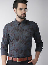 Shirt Indian Terrain Men Blue Slim Fit Printed Casual spread collar long sleeves