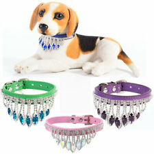 Bling Rhinestone Dog Collar Crystal Leather Puppy Cat Necklace Pet Accessory New