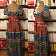 Vintage 1970s Festival Hippie campesino Floral Vestido largo maxi de Algodón Indio XS UK 8