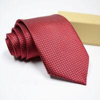 Classic Red Black Blue Men Tie Silk Necktie Set Paisley Wedding Jacquard Woven