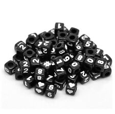 🎀 3 FOR 2 🎀 100 Black Mixed Number Cube Pony Beads 6mm