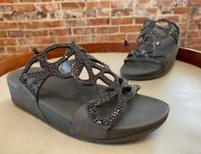 FitFlop Pewter Bumble Crystal Slide Comfort Sandal 7 38 New