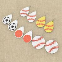 Stylish Baseball Leather Earrings Women Sports Softball Teardrop Leaf Earrings