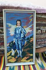 "Vintage  Hand Made Finished Needlepoint Framed 11"" x 21"" - 13"" x 23"" Blue Boy"