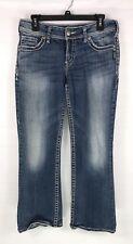 SILVER SUKI Womens Jeans Sz W29 L28 Blue Distressed Cotton Blend White Stitch