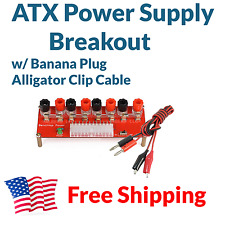 ATX Computer Power Supply Breakout Board Adapter w/ Banana Plug Alligator Clips