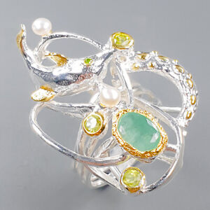 Fine Art SET Emerald Ring Silver 925 Sterling  Size 8 /R153621
