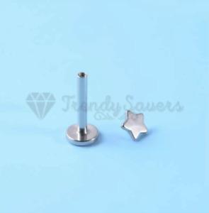 PAIR Star Labret Lip Stud Cartilage Internally Threaded Tragus Ear Monroe Rings