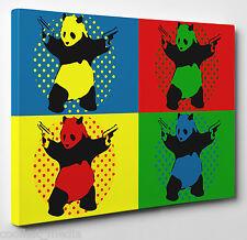 """Banksy Panda"" Canvas Pop Art Print Gift Size A4 12X8 Red Yellow Green Blue"
