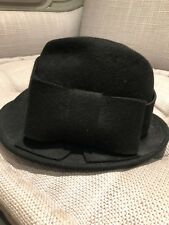 Helen Berman London Black Wool Panama Trilby Hat Size S