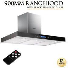 Stainless Steel/Glass Rangehoods Black 90cm Hood Width