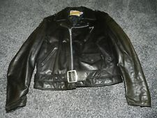 Vintage Schott Perfecto Belted Black Leather Motorcycle Biker Jacket Usa Size 46