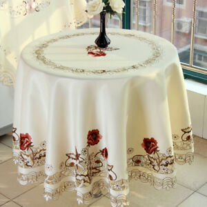 Round Table Cloth Cover Topper White Vintage Embroidered Flower Lace Tablecloth