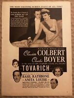 RARE Vintage 1937 TOVARICH AD Claudette Colbert Charles Boyer Anita Louise FRAME