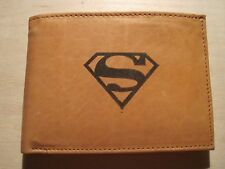 Mens Custom Leather Wallet with SUPERMAN LOGO Superhero Image *Great Gift*