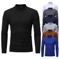 Men's Autumn Winter Pure Color Turtleneck Long Sleeve T-shirt Top Blouse US