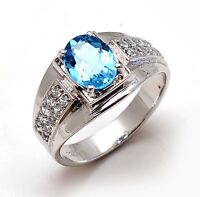 14K Solid White Gold Natural Gem Stone Blue Topaz Men's Ring Us Size 8 9 10 11