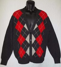 Burberry Lambs Wool Men's Argyle Cardigan Sweater Size 44
