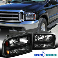 Ford 1999-2004 F250 F350 Super Duty 2000-2004 Excursion Black Clear Headlights