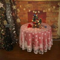 Christmas Tablecloth White Lace Dining Table Cloth Cover Xmas Party Home Decor
