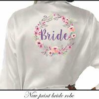Bridesmaid Bride Wedding Satin Silk Floral Bath Robe Maid of Honor Gown Dressing