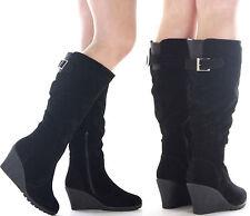 Zip High Heel (3-4.5 in.) Wedge Women's Faux Suede Boots