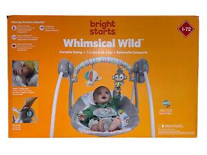 Bright Starts Whimsical Wild Portable Swing Baby Toddler Space Saving Travel Fun
